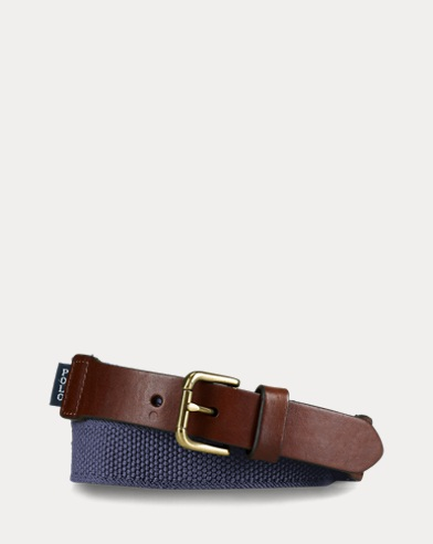 폴로 랄프로렌 보이즈 벨트 Polo Ralph Lauren Webbed-Cotton and Leather Belt,Navy
