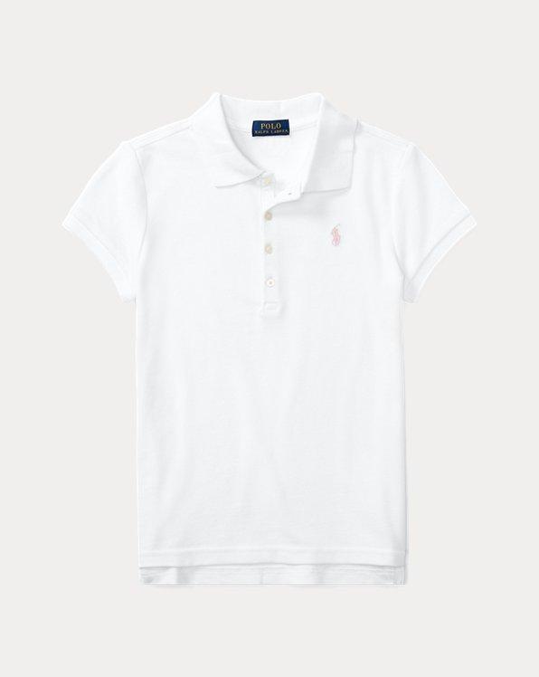 폴로 랄프로렌 걸즈 폴로 셔츠 Polo Ralph Lauren Cotton Polo Shirt,White
