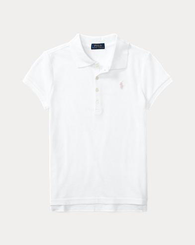 폴로 랄프로렌 걸즈 반팔 카라티 화이트 Polo Ralph Lauren Short Sleeve Polo,White