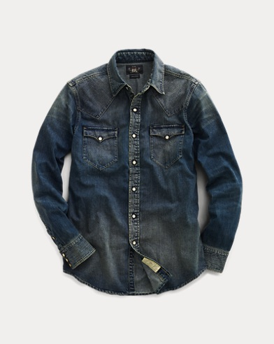 폴로 랄프로렌 Polo Ralph Lauren Slim Fit Denim Western Shirt,Dark Wash