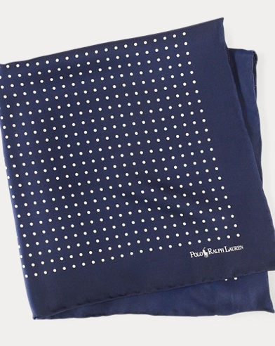 폴로 랄프로렌 Polo Ralph Lauren Polka-Dot Silk Pocket Square,Navy
