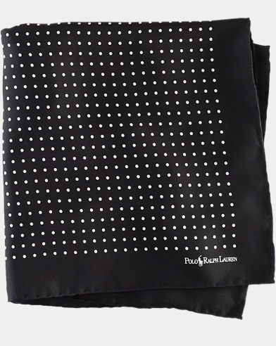폴로 랄프로렌 Polo Ralph Lauren Polka-Dot Silk Pocket Square,Black