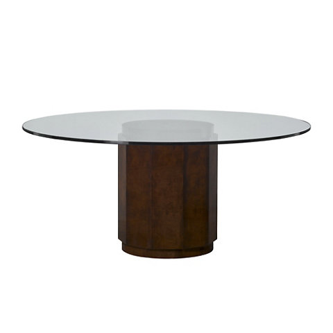 Perrin Mahogany wood base round dining table by Ralph Lauren Home
