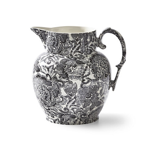 Faded Peony Etruscan Pitcher, Black