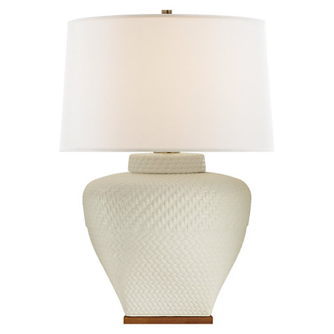 Isla Small Table Lamp In White Leather Ceramic With Linen Shade   Table  Lamps   Lighting   Products   Ralph Lauren Home   RalphLaurenHome.com