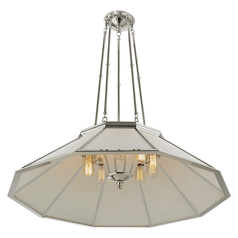 Rivington Large Round Billiard Pendant In Polished Nickel With White Gl Ceiling Fixtures Lighting Products Ralph Lauren Home Ralphlaurenhome