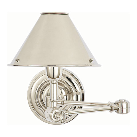 Anette Swing Arm Sconce In Polished Nickel Wall Lamps Sconces Lighting Products Ralph Lauren Home Ralphlaurenhome