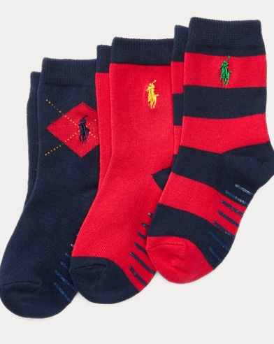 Rugby Argyle Crew Sock 3-Pack
