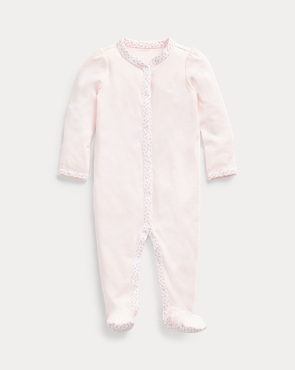 Floral-Trim Footed Coverall