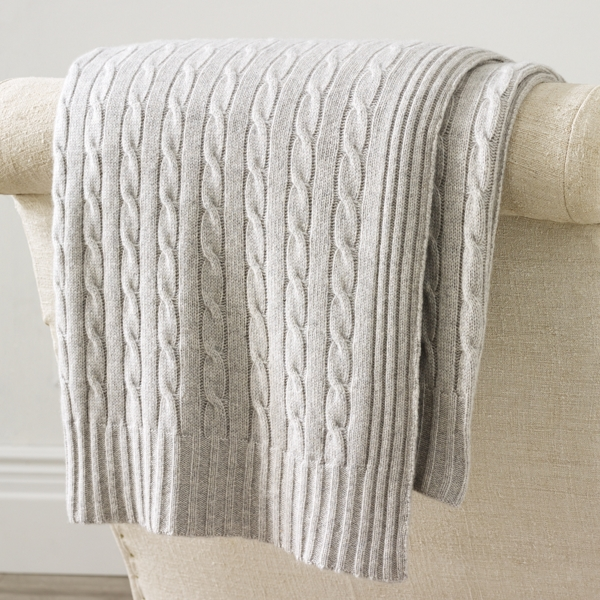 Ralph Lauren Cable Cashmere Throw Blanket Dark Heather Grey 60