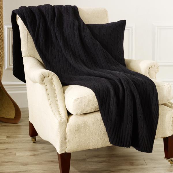 Ralph Lauren Cable Cashmere Throw Blanket Midnight Black 60