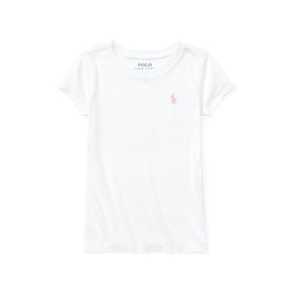 폴로 랄프로렌 여아용 티셔츠 Polo Ralph Lauren Cotton-Modal Crewneck Tee,White