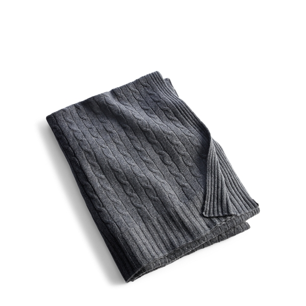 Ralph Lauren Cable Cashmere Throw Blanket Modern Charcoal 60