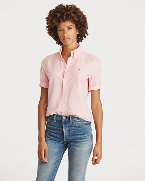 c541d221214a9 Polo Ralph Lauren Slim Cropped-Sleeve Oxford 1