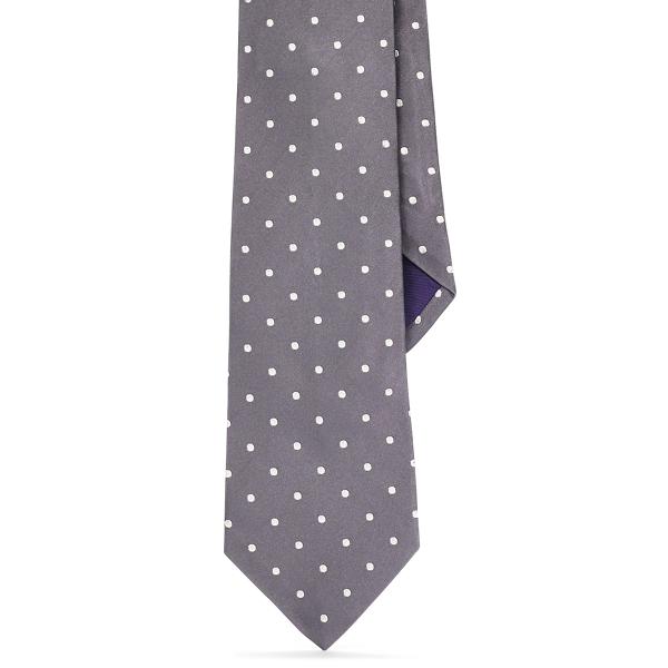 Ralph Lauren Polka-Dot Silk Satin Tie Dark Grey One Size