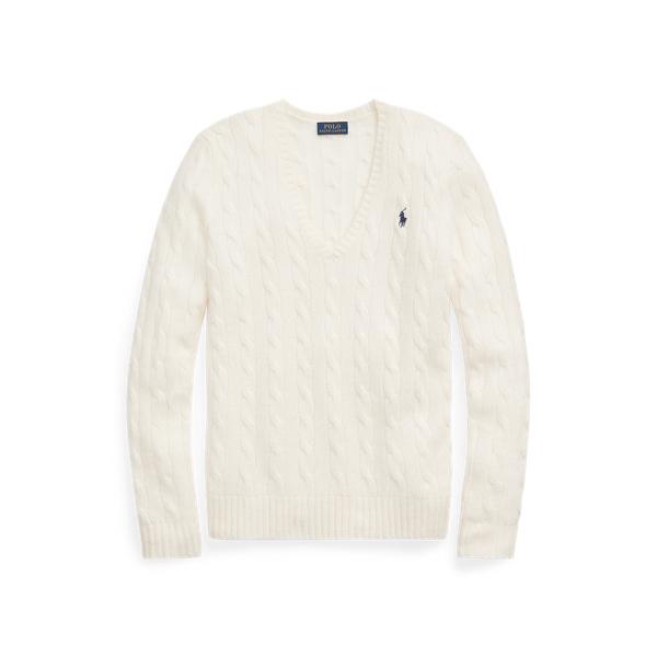 폴로 랄프로렌 Polo Ralph Lauren Cable Wool Cashmere Sweater,Cream