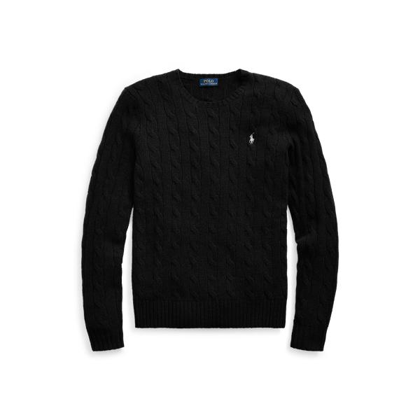폴로 랄프로렌 Polo Ralph Lauren Cable Wool Crewneck Sweater,Polo Black