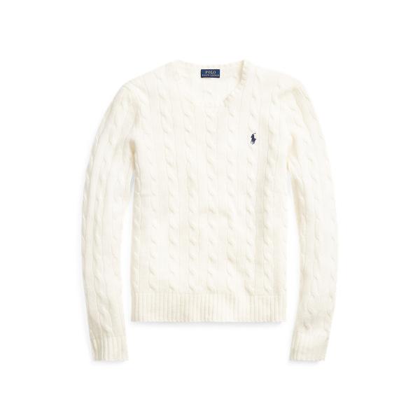 폴로 랄프로렌 Polo Ralph Lauren Cable Wool Crewneck Sweater,Cream