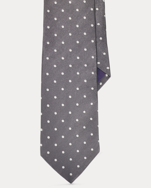 Polo Ralph Lauren Purple Label Men Italy Italian Silk Tie Polka Dots Black White