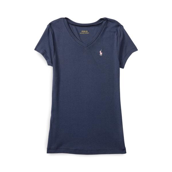 폴로 랄프로렌 여아용 티셔츠 Polo Ralph Lauren Cotton-Modal V-Neck Tee,Newport Navy