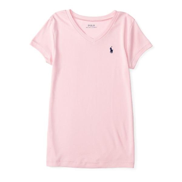 Ralph Lauren Cotton-Modal V-Neck Tee Carmel Pink 2T