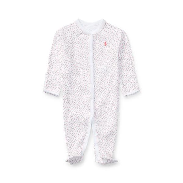 폴로 랄프로렌 Polo Ralph Lauren Floral Cotton Footed Coverall,White Multi