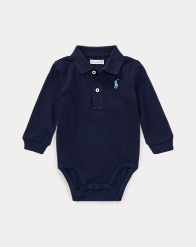 Cotton Jersey Polo Bodysuit