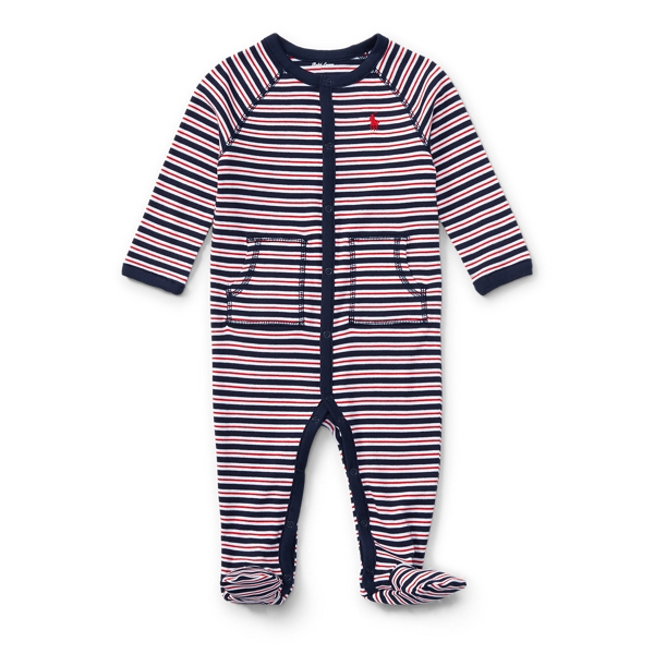 Ralph Lauren Striped Cotton Coverall French Navy Multi 3M