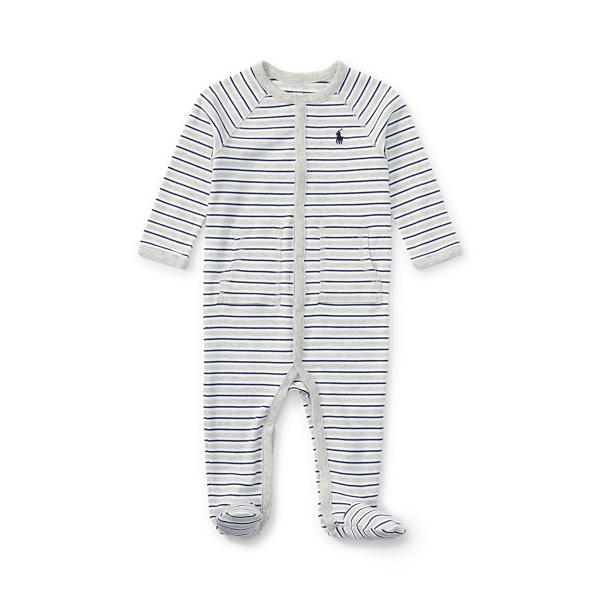 폴로 랄프로렌 Polo Ralph Lauren Striped Cotton Footed Coverall,Light Heather Multi