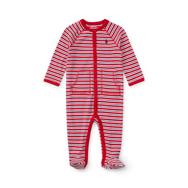 폴로 랄프로렌 Polo Ralph Lauren Striped Cotton Footed Coverall,Rl Red Multi