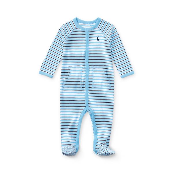 폴로 랄프로렌 Polo Ralph Lauren Striped Cotton Footed Coverall,Suffield Blue Multi