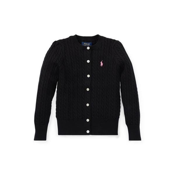 폴로 랄프로렌 여아용 꽈배기 니트 가디건 Polo Ralph Lauren Cable-Knit Cotton Cardigan,Polo Black