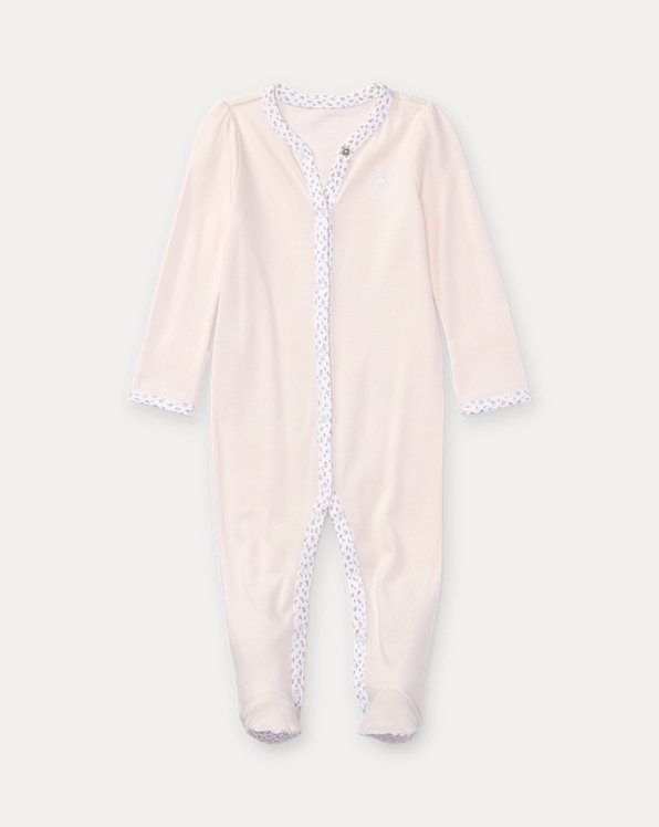 Floral-Trim Cotton Coverall