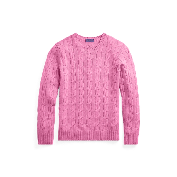 Ralph Lauren Cable-Knit Cashmere Sweater Classic Bright Pink Xxl