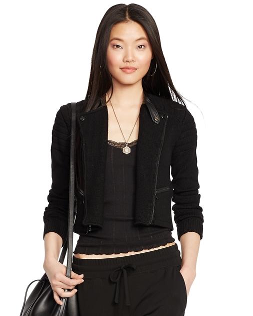 81952719f3 Leather-Trim Moto Sweater