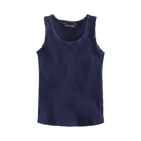 폴로 랄프로렌 여아용 민소매티 Polo Ralph Lauren Lace-Trim Ribbed Tank,Newport Navy