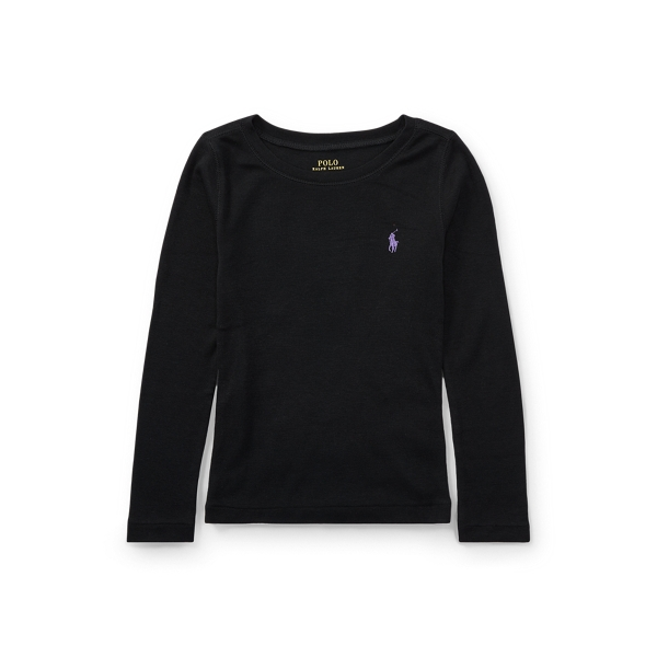 폴로 랄프로렌 여아용 티셔츠 Polo Ralph Lauren Cotton-Blend Long-Sleeve Tee,Collection Black