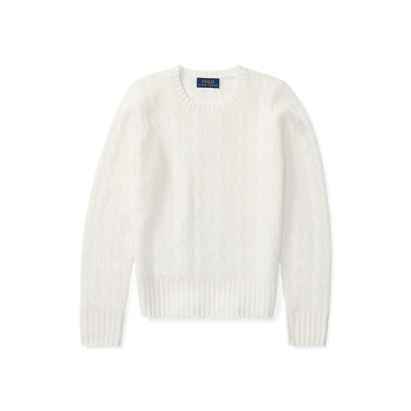 폴로 랄프로렌 걸즈 꽈배기 니트 캐시미어 스웨터 444123 Polo Ralph Lauren Cable Knit Cashmere Sweater,Warm White