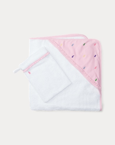 Pony Hooded Towel & Mitt Set