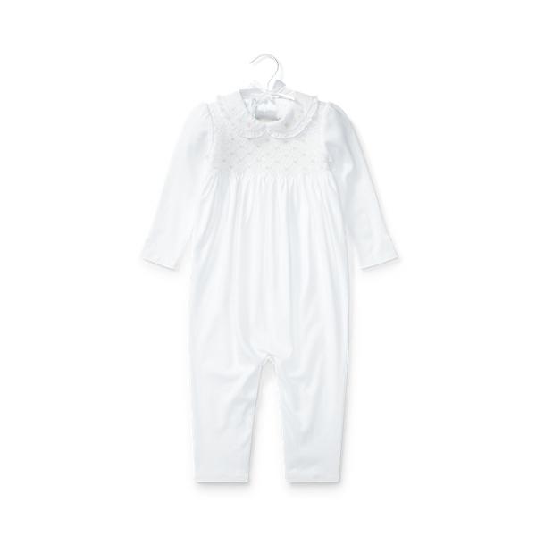 폴로 랄프로렌 Polo Ralph Lauren Smocked Cotton Coverall,White
