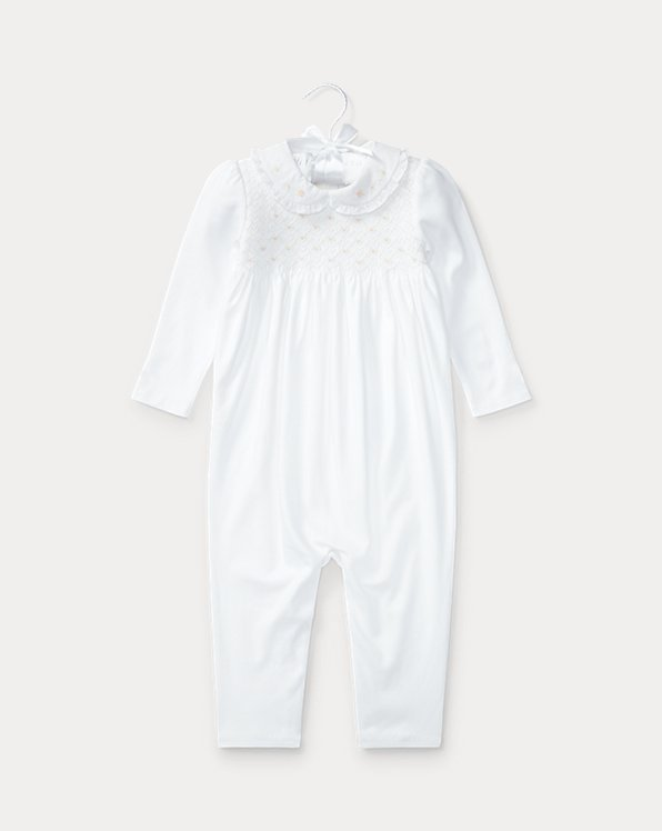 Smocked Cotton Coverall
