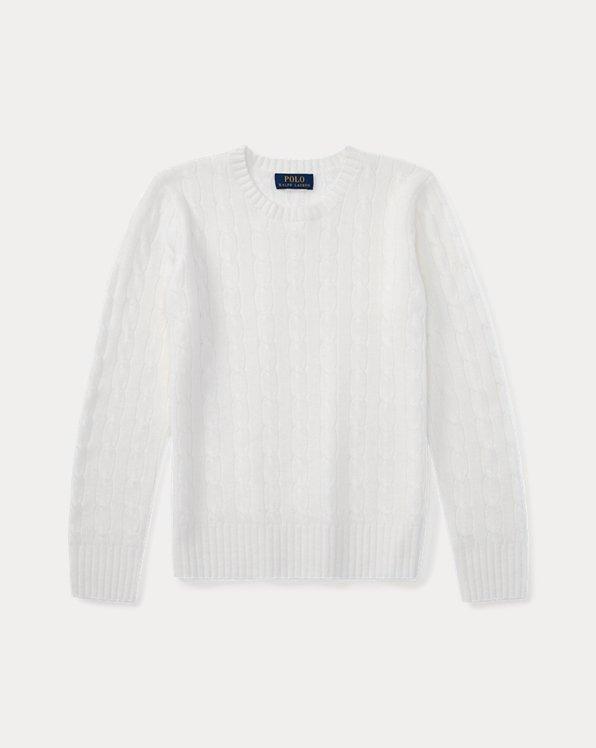 폴로 랄프로렌 보이즈 꽈배기 스웨터 Polo Ralph Lauren Cable-Knit Cashmere Sweater,Warm White