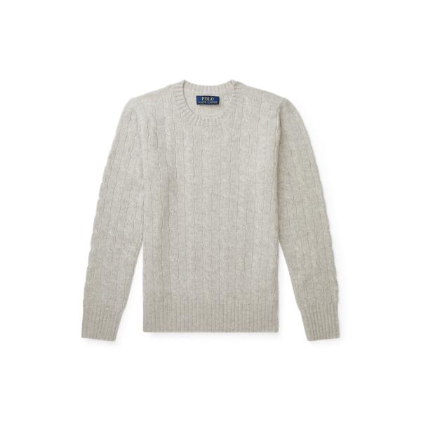 폴로 랄프로렌 보이즈 꽈베기 스웨터 Polo Ralph Lauren Cable Knit Cashmere Sweater,Light Grey Heather