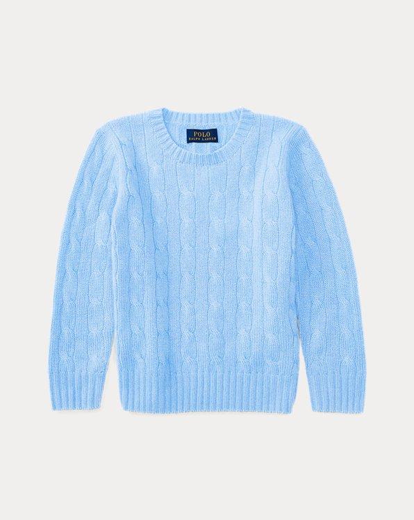 폴로 랄프로렌 여아용 꽈배기 니트 스웨터 Polo Ralph Lauren Cable-Knit Cashmere Sweater,New Litchfield Blue