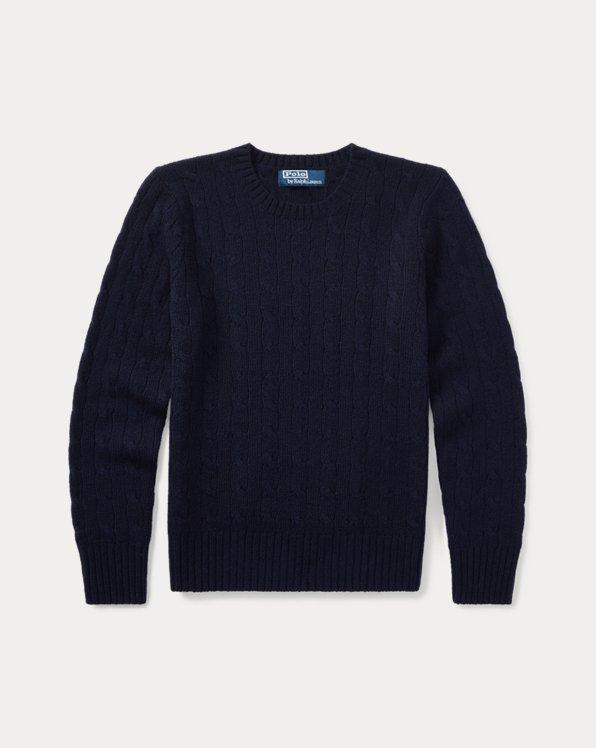 폴로 랄프로렌 보이즈 꽈배기 스웨터 Polo Ralph Lauren Cable-Knit Cashmere Sweater,French Navy