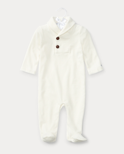 6d599449c Baby Boy Velour Footed Coverall 1