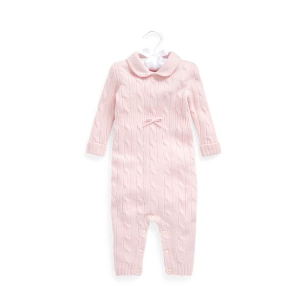 폴로 랄프로렌 베이비 커버올 우주복 Polo Ralph Lauren Cashmere Knit Collar Coverall,Morning Pink