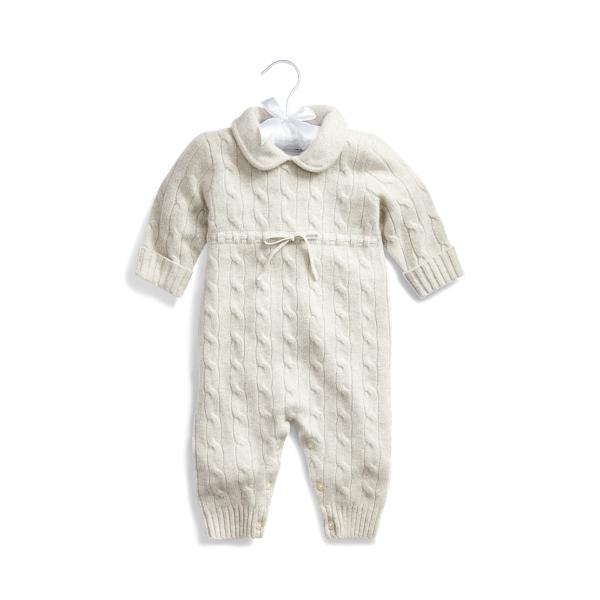 폴로 랄프로렌 베이비 커버올 우주복 Polo Ralph Lauren Cashmere Knit Collar Coverall,Light Grey Heather