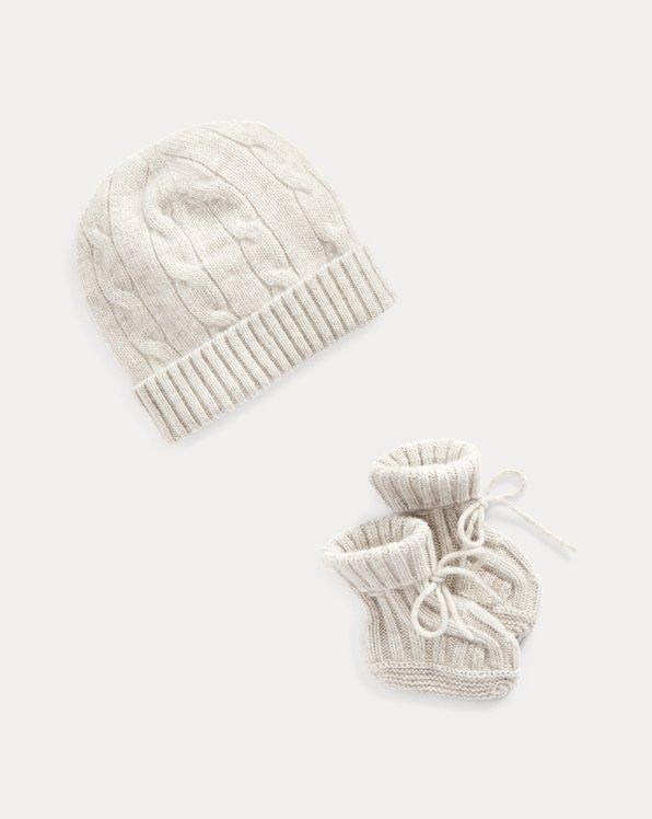 Set berretto e babbucce in cashmere