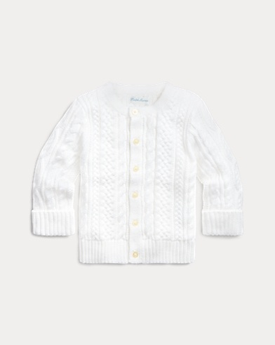 Aran-Knit Cotton Cardigan